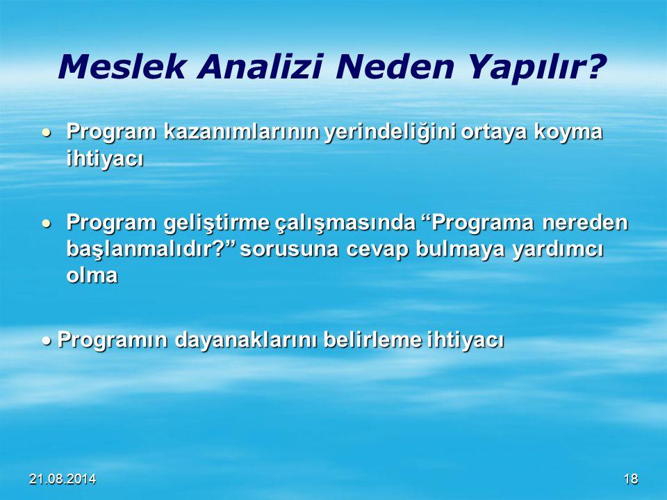 """21.08.2014 Meslek Analizi Neden Yapılır?  Program kazanımlarının yerindeliğini ortaya koyma ihtiyacı  Program geliştirme çalışmasında """"Programa nere"""