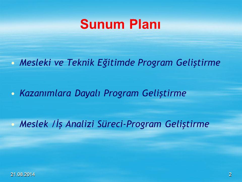 21.08.2014 Sunum Planı Mesleki ve Teknik Eğitimde Program Geliştirme Kazanımlara Dayalı Program Geliştirme Meslek /İş Analizi Süreci-Program Geliştirm