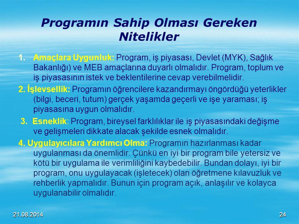 21.08.2014 Programın Sahip Olması Gereken Nitelikler 1. 1.Amaçlara Uygunluk: Program, iş piyasası, Devlet (MYK), Sağlık Bakanlığı) ve MEB amaçlarına d