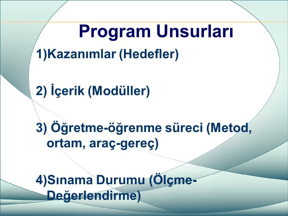 Program Unsurları 1)Kazanımlar (Hedefler) 2) İçerik (Modüller) 3) Öğretme-öğrenme süreci (Metod, ortam, araç-gereç) 4)Sınama Durumu (Ölçme- Değerlendi