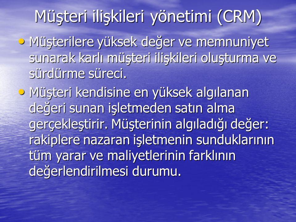 Müşteri ilişkileri yönetimi (CRM) Müşterilere yüksek değer ve memnuniyet sunarak karlı müşteri ilişkileri oluşturma ve sürdürme süreci. Müşterilere yü