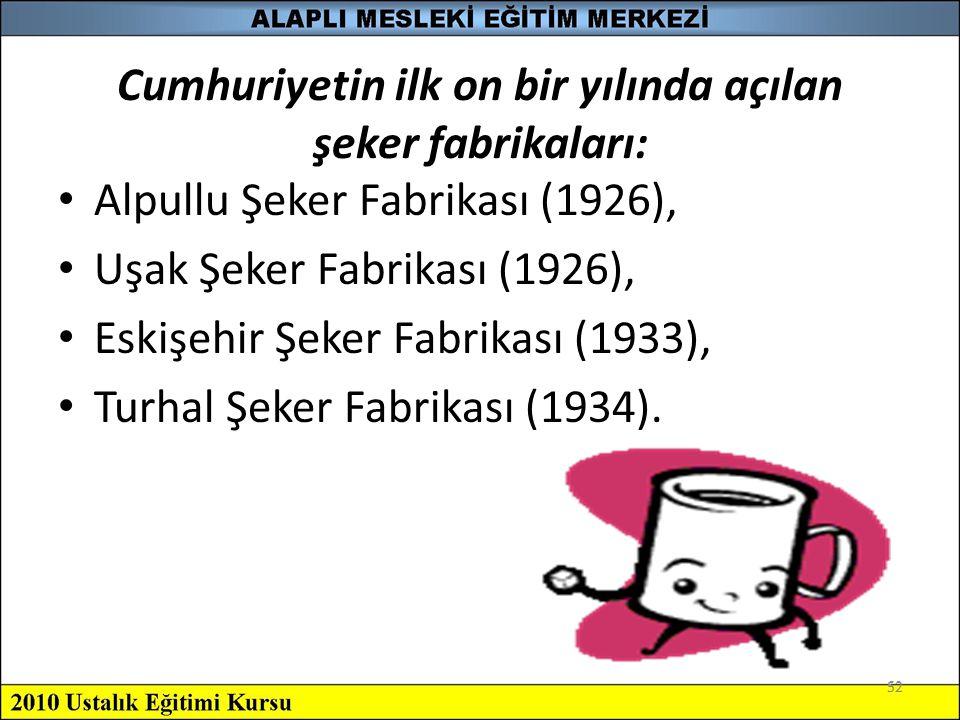 52 Cumhuriyetin ilk on bir yılında açılan şeker fabrikaları: Alpullu Şeker Fabrikası (1926), Uşak Şeker Fabrikası (1926), Eskişehir Şeker Fabrikası (1
