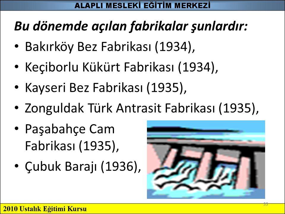 55 Bu dönemde açılan fabrikalar şunlardır: Bakırköy Bez Fabrikası (1934), Keçiborlu Kükürt Fabrikası (1934), Kayseri Bez Fabrikası (1935), Zonguldak T