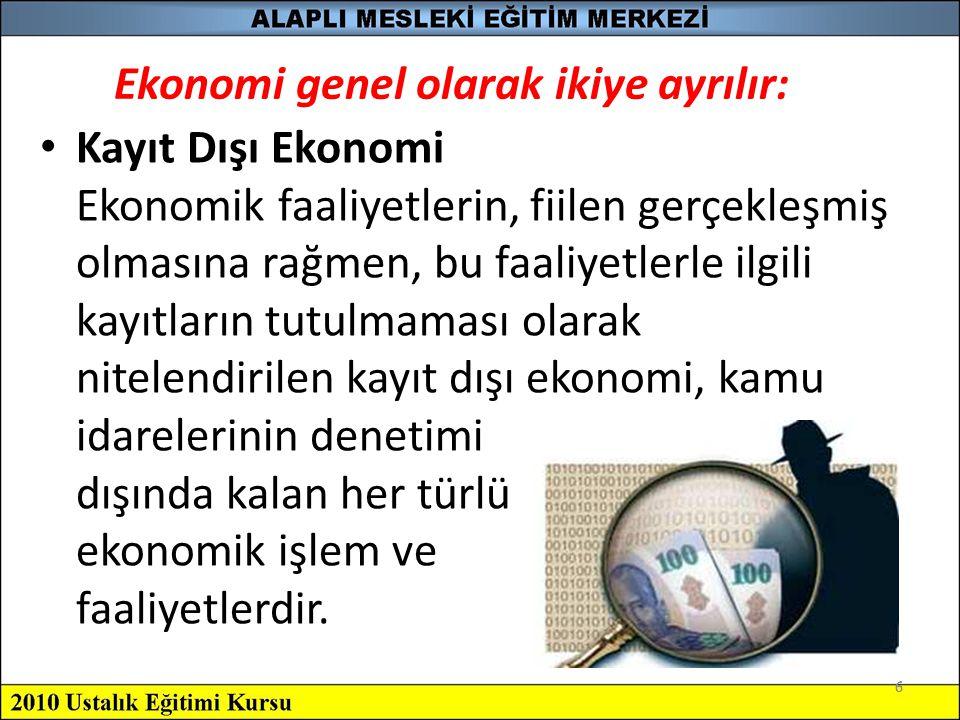 7 Kayıt dışı ekonomi, Türkiye gibi gelişmekte olan ülkelerin en önemli sorunlarından biridir.