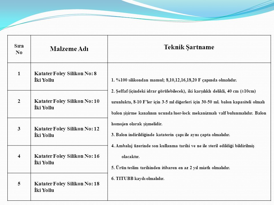 Sıra No Malzeme Adı Teknik Şartname 1Katater Foley Silikon No: 8 İki Yollu 1. %100 silikondan mamul; 8,10,12,16,18,20 F çapında olmalıdır. 2. Şeffaf (