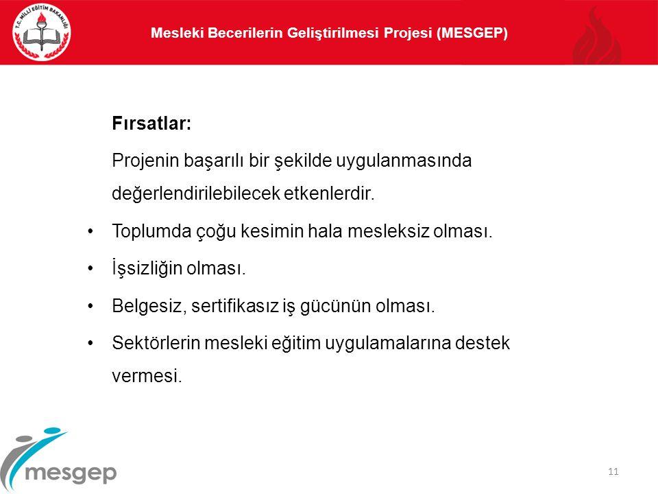 Mesleki Becerilerin Geliştirilmesi Projesi (MESGEP) 11 Fırsatlar: Projenin başarılı bir şekilde uygulanmasında değerlendirilebilecek etkenlerdir. Topl