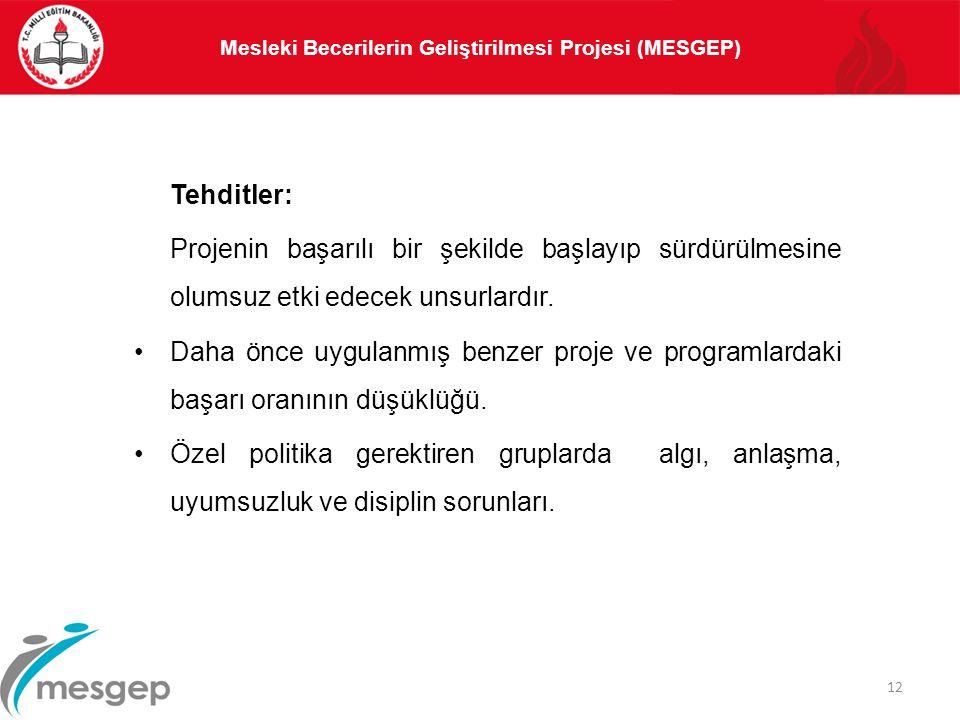 Mesleki Becerilerin Geliştirilmesi Projesi (MESGEP) 12 Tehditler: Projenin başarılı bir şekilde başlayıp sürdürülmesine olumsuz etki edecek unsurlardı