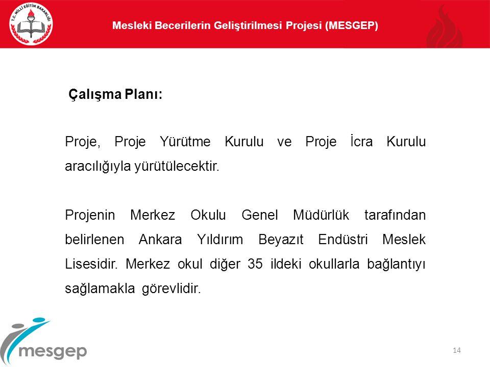 14 Proje, Proje Yürütme Kurulu ve Proje İcra Kurulu aracılığıyla yürütülecektir. Projenin Merkez Okulu Genel Müdürlük tarafından belirlenen Ankara Yıl