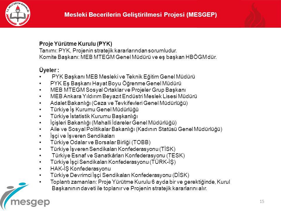 15 Proje Yürütme Kurulu (PYK) Tanımı: PYK, Projenin stratejik kararlarından sorumludur. Komite Başkanı: MEB MTEGM Genel Müdürü ve eş başkan HBÖGM dür.