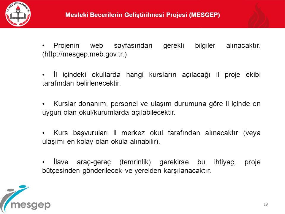 Projenin web sayfasından gerekli bilgiler alınacaktır. (http://mesgep.meb.gov.tr.) İl içindeki okullarda hangi kursların açılacağı il proje ekibi tara