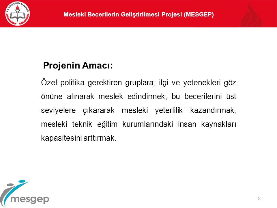 Mesleki Becerilerin Geliştirilmesi Projesi (MESGEP) 3 Projenin Amacı: Özel politika gerektiren gruplara, ilgi ve yetenekleri göz önüne alınarak meslek