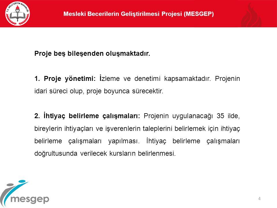 Mesleki Becerilerin Geliştirilmesi Projesi (MESGEP) 4 Proje beş bileşenden oluşmaktadır. 1. Proje yönetimi: İzleme ve denetimi kapsamaktadır. Projenin