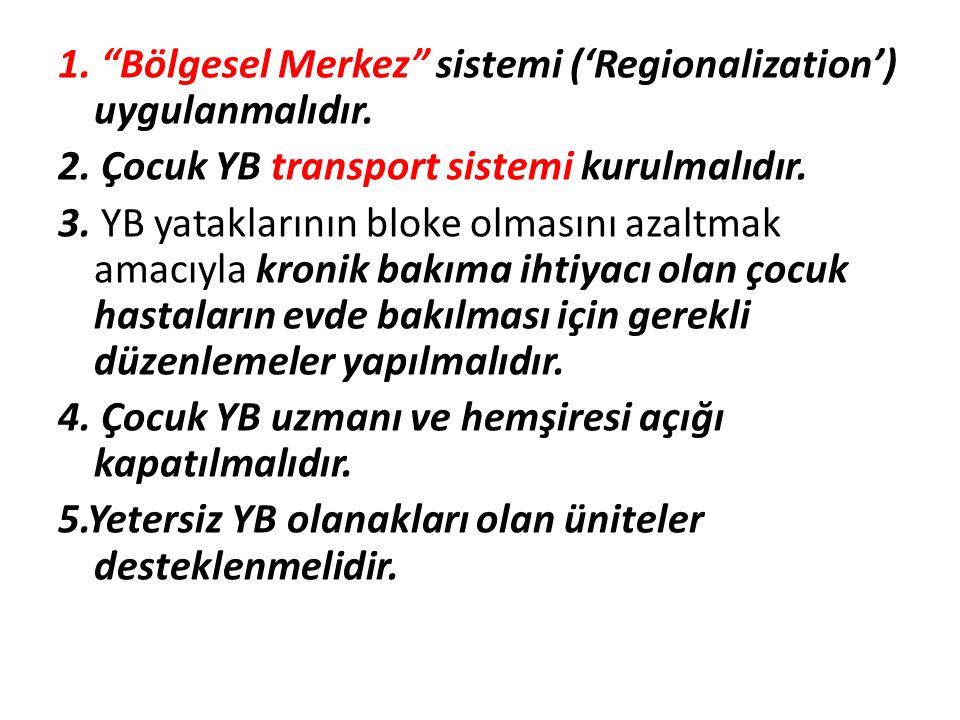"""1. """"Bölgesel Merkez"""" sistemi ('Regionalization') uygulanmalıdır. 2. Çocuk YB transport sistemi kurulmalıdır. 3. YB yataklarının bloke olmasını azaltma"""