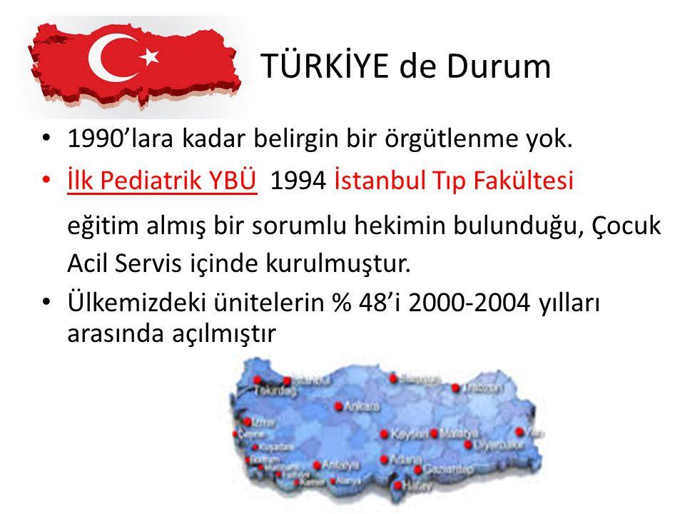 TÜRKİYE de Durum 1990'lara kadar belirgin bir örgütlenme yok. İlk Pediatrik YBÜ 1994 İstanbul Tıp Fakültesi eğitim almış bir sorumlu hekimin bulunduğu