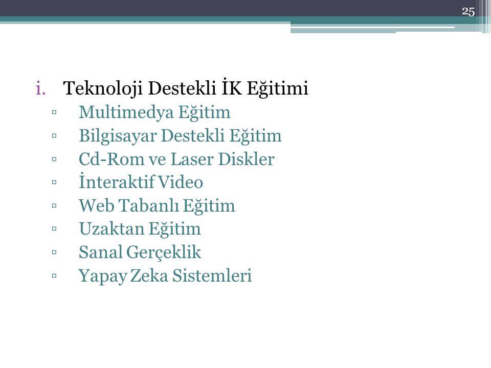 i.Teknoloji Destekli İK Eğitimi ▫Multimedya Eğitim ▫Bilgisayar Destekli Eğitim ▫Cd-Rom ve Laser Diskler ▫İnteraktif Video ▫Web Tabanlı Eğitim ▫Uzaktan Eğitim ▫Sanal Gerçeklik ▫Yapay Zeka Sistemleri 25