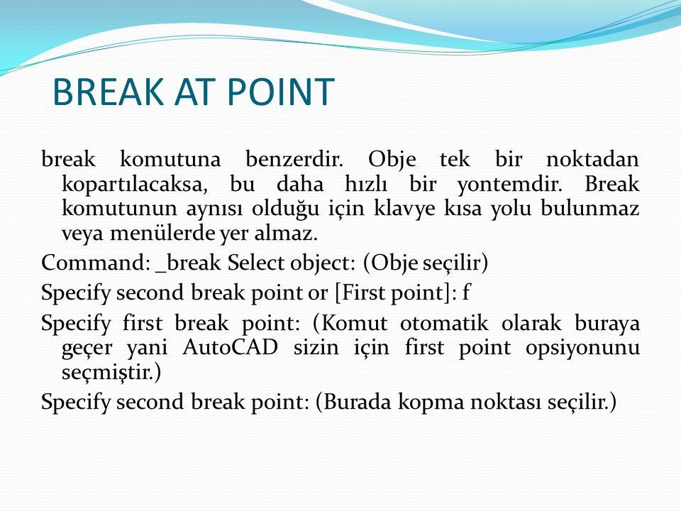 BREAK AT POINT break komutuna benzerdir. Obje tek bir noktadan kopartılacaksa, bu daha hızlı bir yontemdir. Break komutunun aynısı olduğu için klavye
