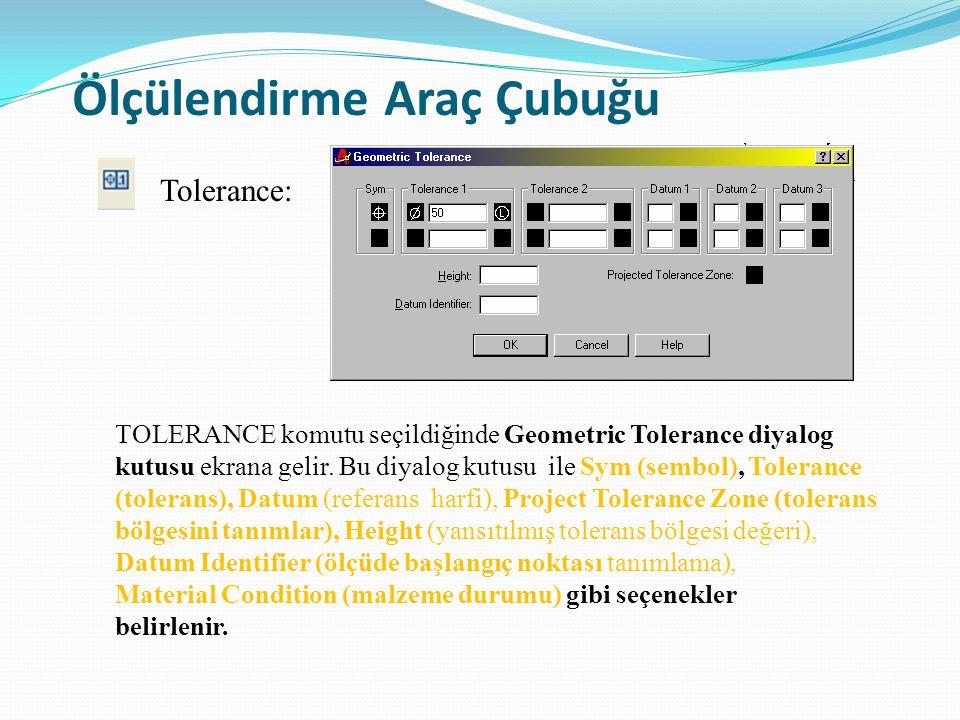Ölçülendirme Araç Çubuğu TOLERANCE komutu seçildiğinde Geometric Tolerance diyalog kutusu ekrana gelir. Bu diyalog kutusu ile Sym (sembol), Tolerance