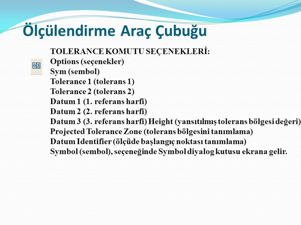 Ölçülendirme Araç Çubuğu TOLERANCE KOMUTU SEÇENEKLERİ: Options (seçenekler) Sym (sembol) Tolerance 1 (tolerans 1) Tolerance 2 (tolerans 2) Datum 1 (1.