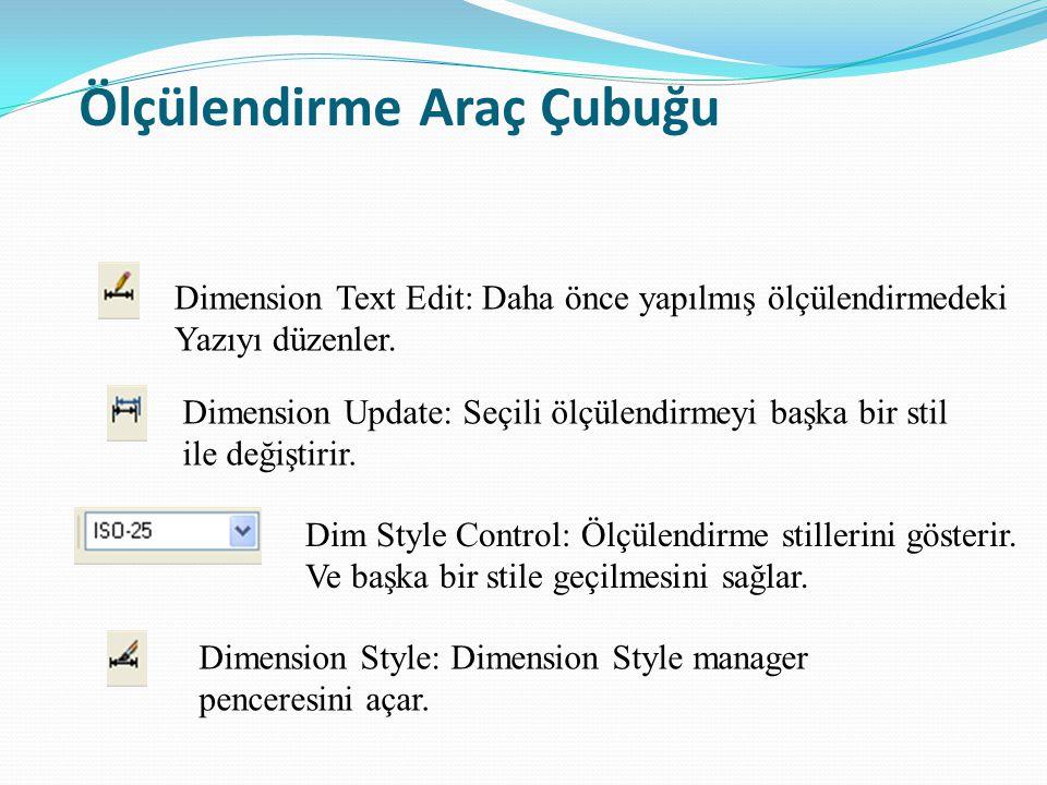 Ölçülendirme Araç Çubuğu Dimension Text Edit: Daha önce yapılmış ölçülendirmedeki Yazıyı düzenler. Dimension Update: Seçili ölçülendirmeyi başka bir s