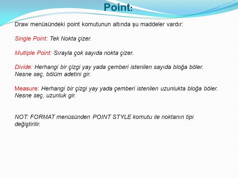 Point : Draw menüsündeki point komutunun altında şu maddeler vardır: Single Point: Tek Nokta çizer. Multiple Point: Sırayla çok sayıda nokta çizer. Di