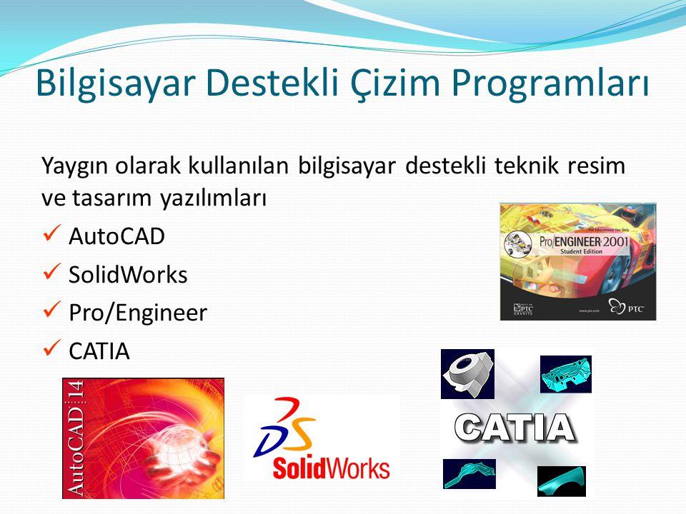 Bilgisayar Destekli Çizim Programları Yaygın olarak kullanılan bilgisayar destekli teknik resim ve tasarım yazılımları AutoCAD SolidWorks Pro/Engineer