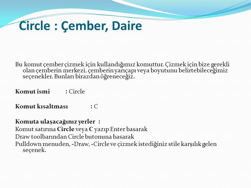 Circle : Çember, Daire Bu komut çember çizmek için kullandığımız komuttur. Çizmek için bize gerekli olan çemberin merkezi, çemberin yarıçapı veya boyu