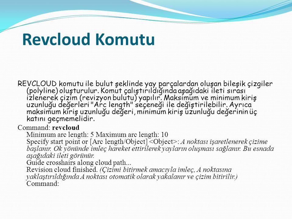 Revcloud Komutu REVCLOUD komutu ile bulut şeklinde yay parçalardan oluşan bileşik çizgiler (polyline) oluşturulur. Komut çalıştırıldığında aşağıdaki i