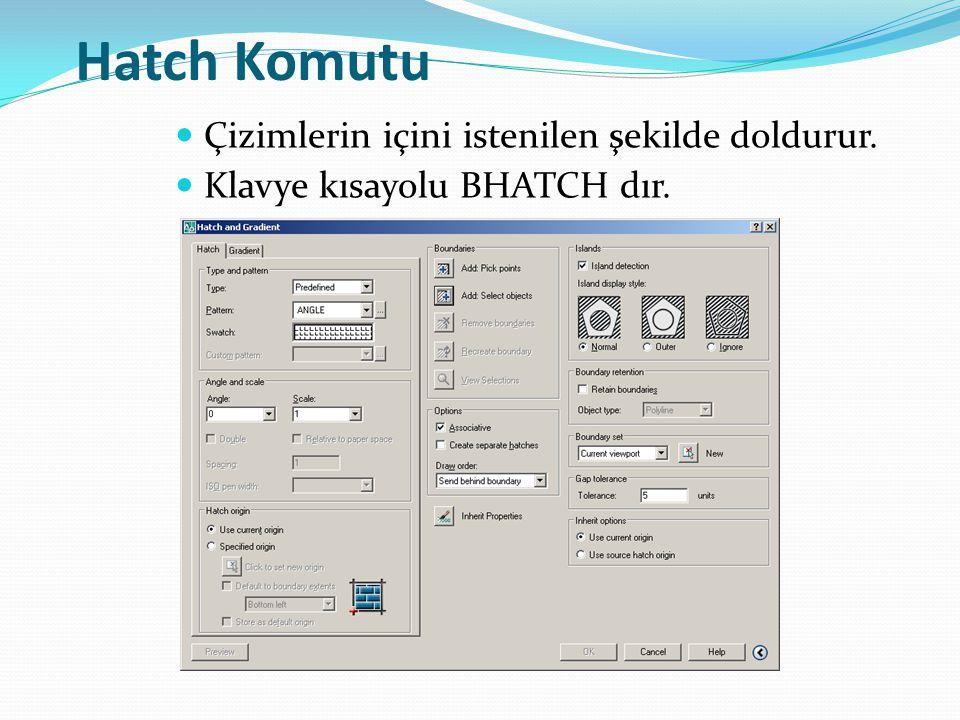 Hatch Komutu Çizimlerin içini istenilen şekilde doldurur. Klavye kısayolu BHATCH dır.