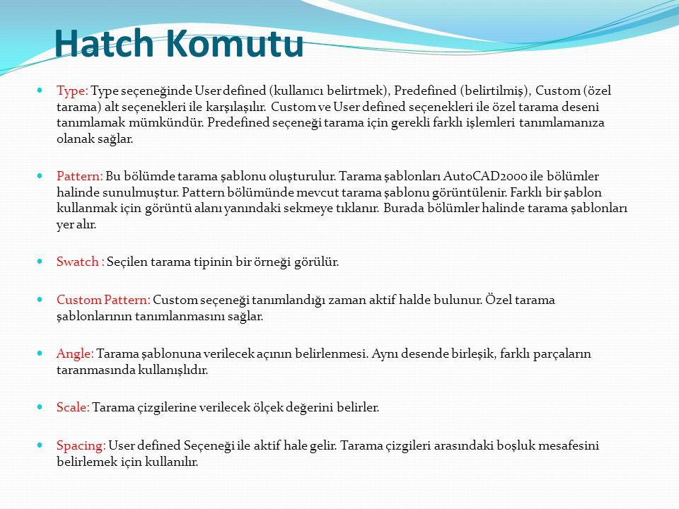 Hatch Komutu Type: Type seçeneğinde User defined (kullanıcı belirtmek), Predefined (belirtilmiş), Custom (özel tarama) alt seçenekleri ile karşılaşılı
