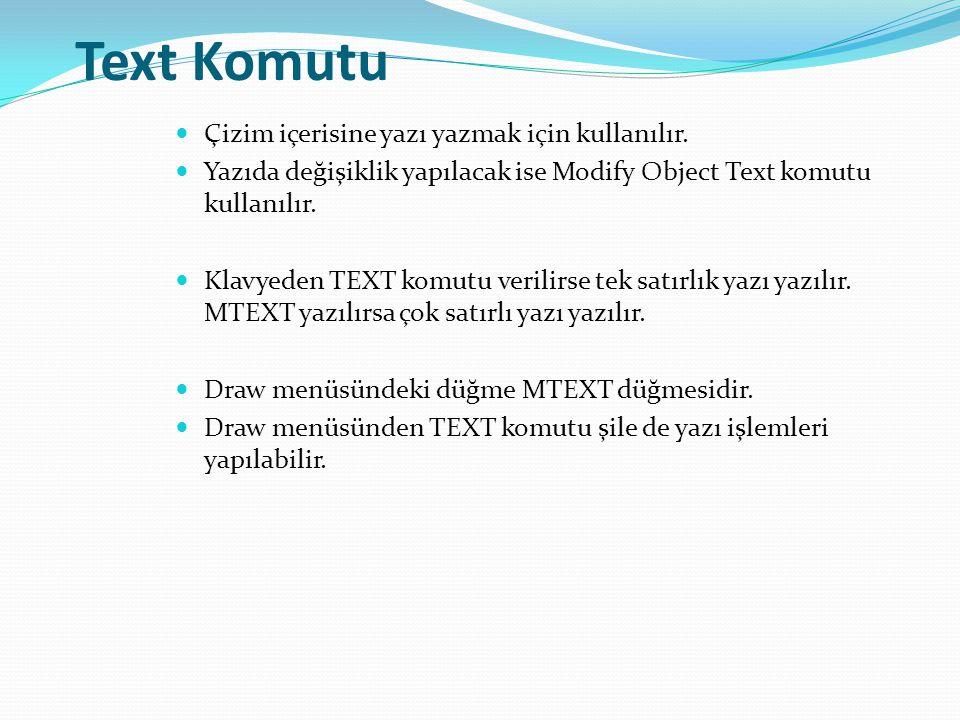 Text Komutu Çizim içerisine yazı yazmak için kullanılır. Yazıda değişiklik yapılacak ise Modify Object Text komutu kullanılır. Klavyeden TEXT komutu v