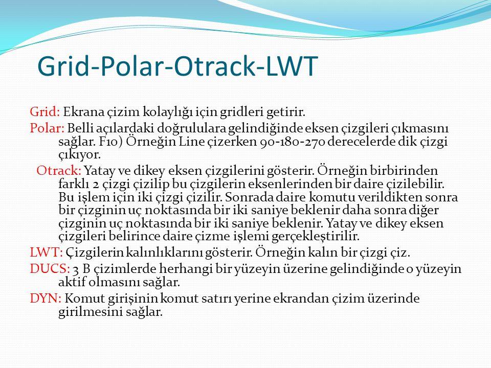 Grid-Polar-Otrack-LWT Grid: Ekrana çizim kolaylığı için gridleri getirir. Polar: Belli açılardaki doğrululara gelindiğinde eksen çizgileri çıkmasını s