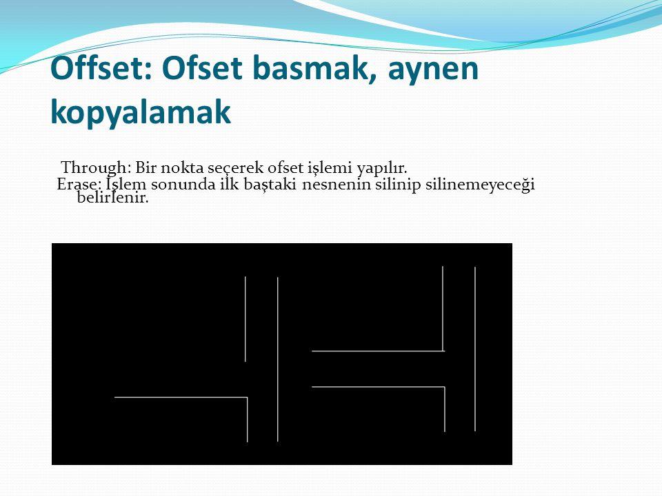 Offset: Ofset basmak, aynen kopyalamak Through: Bir nokta seçerek ofset işlemi yapılır. Erase: İşlem sonunda ilk baştaki nesnenin silinip silinemeyece