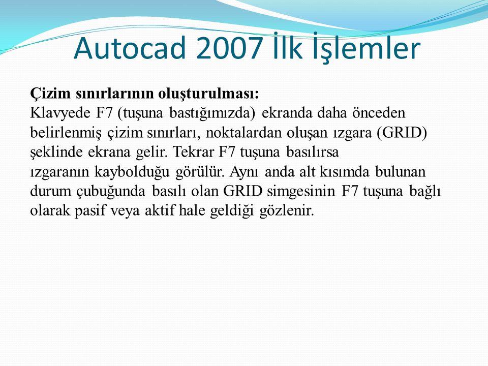 Autocad 2007 İlk İşlemler Çizim sınırlarının oluşturulması: Klavyede F7 (tuşuna bastığımızda) ekranda daha önceden belirlenmiş çizim sınırları, noktal