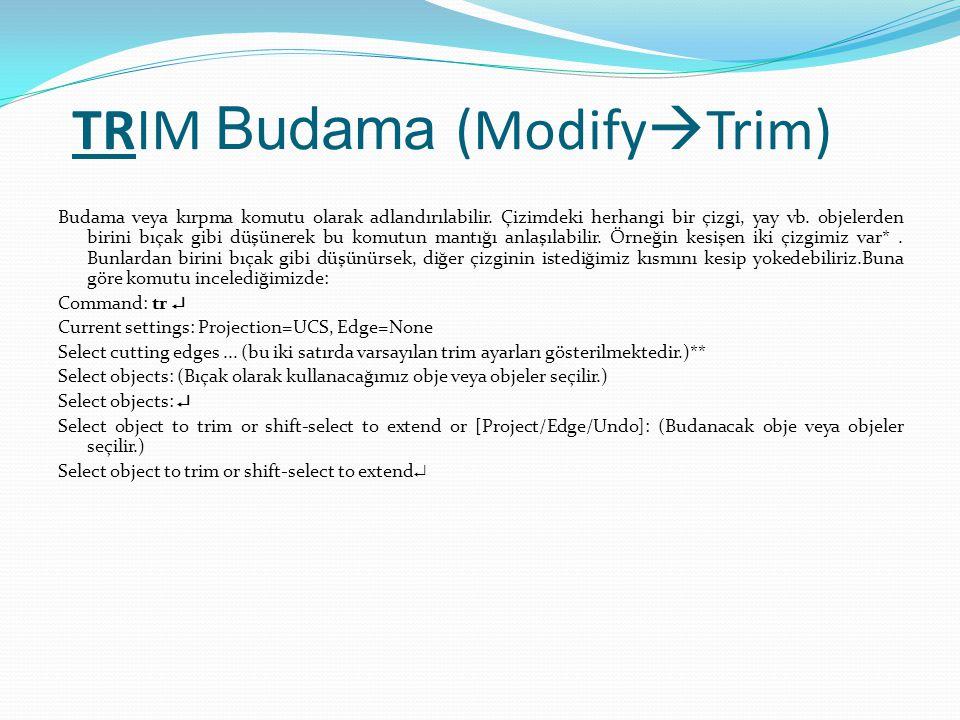 TRIM Budama (Modify  Trim) Budama veya kırpma komutu olarak adlandırılabilir. Çizimdeki herhangi bir çizgi, yay vb. objelerden birini bıçak gibi düşü
