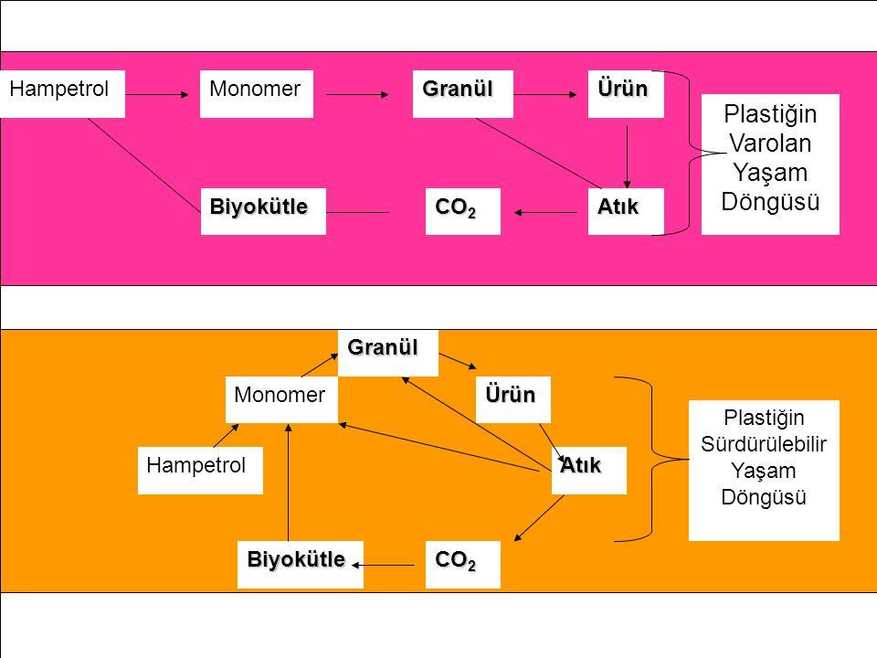 Hampetrol Monomer GranülÜrün Atık CO 2 Biyokütle Hampetrol Monomer Granül Ürün Atık CO 2 Biyokütle Plastiğin Varolan Yaşam Döngüsü Plastiğin Sürdürüle