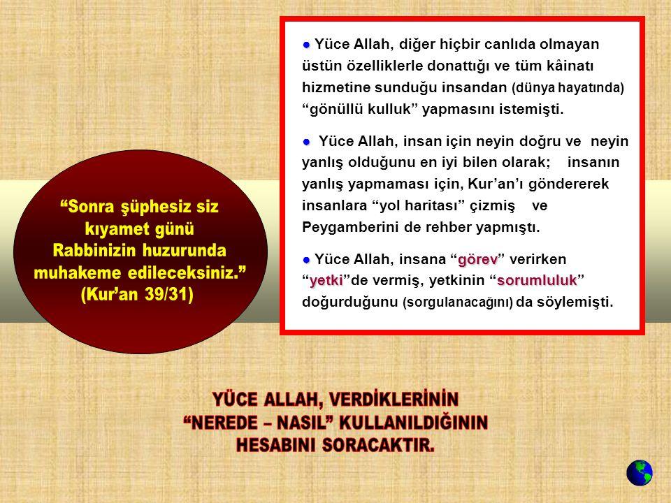 ● ● Yüce Allah, diğer hiçbir canlıda olmayan üstün özelliklerle donattığı ve tüm kâinatı hizmetine sunduğu insandan (dünya hayatında) gönüllü kulluk yapmasını istemişti.