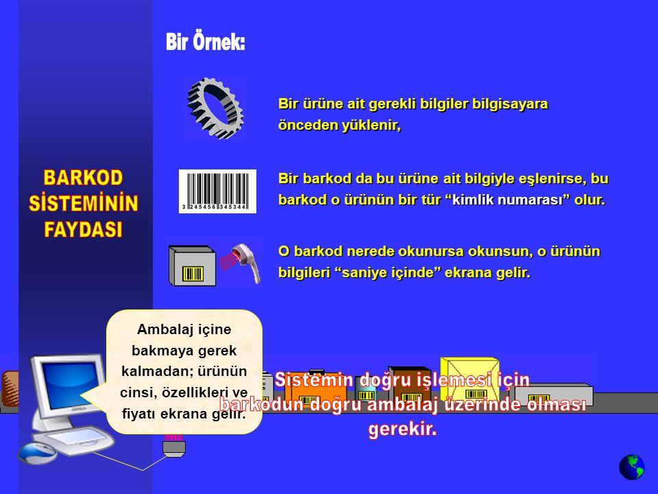 Bir barkod da bu ürüne ait bilgiyle eşlenirse, bu barkod o ürünün bir tür kimlik numarası olur.