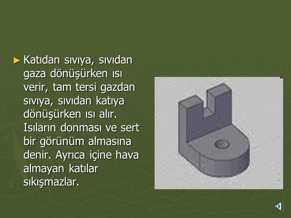 ► Katı durumdaki bir maddenin atomları arasındaki boşluk azalır. Bu nedenle aralarındaki çekim kuvveti de artar. Katı maddelerin biçim değiştirebilmes