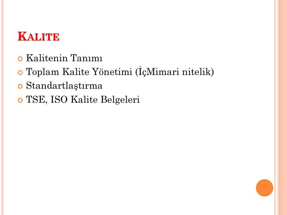 K ALITE Kalitenin Tanımı Toplam Kalite Yönetimi (İçMimari nitelik) Standartlaştırma TSE, ISO Kalite Belgeleri