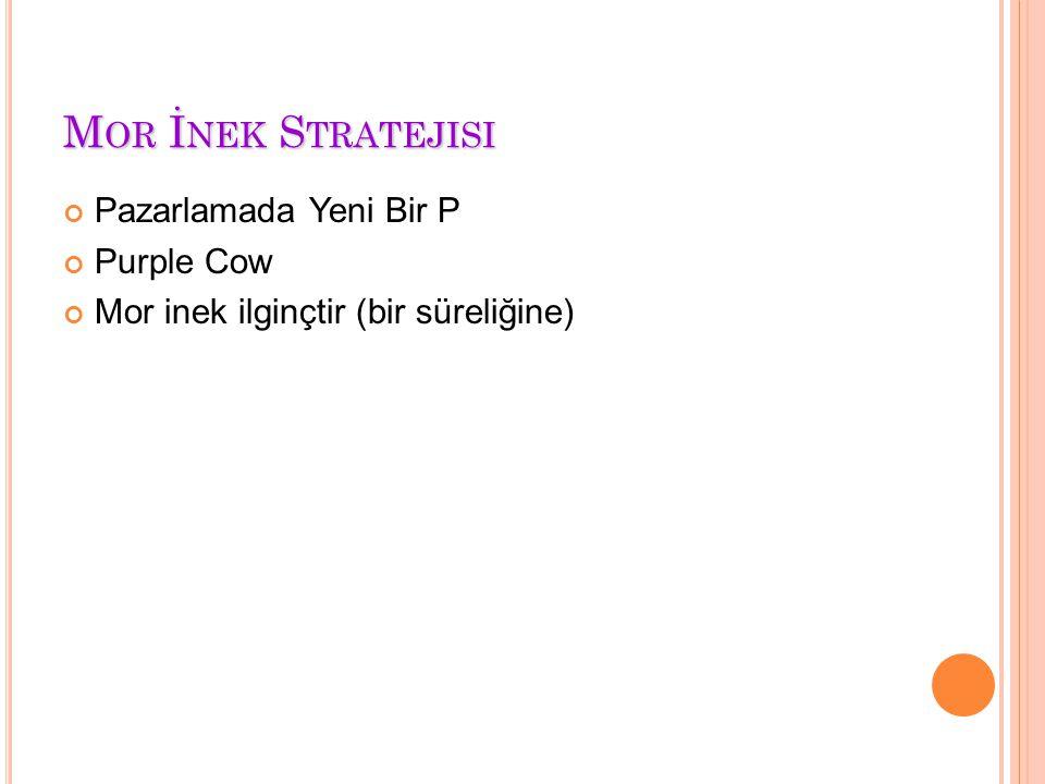 M OR İ NEK S TRATEJISI Pazarlamada Yeni Bir P Purple Cow Mor inek ilginçtir (bir süreliğine)