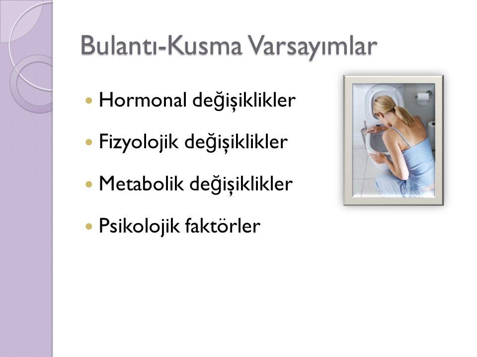 Bulantı-Kusma Varsayımlar Hormonal de ğ işiklikler Fizyolojik de ğ işiklikler Metabolik de ğ işiklikler Psikolojik faktörler