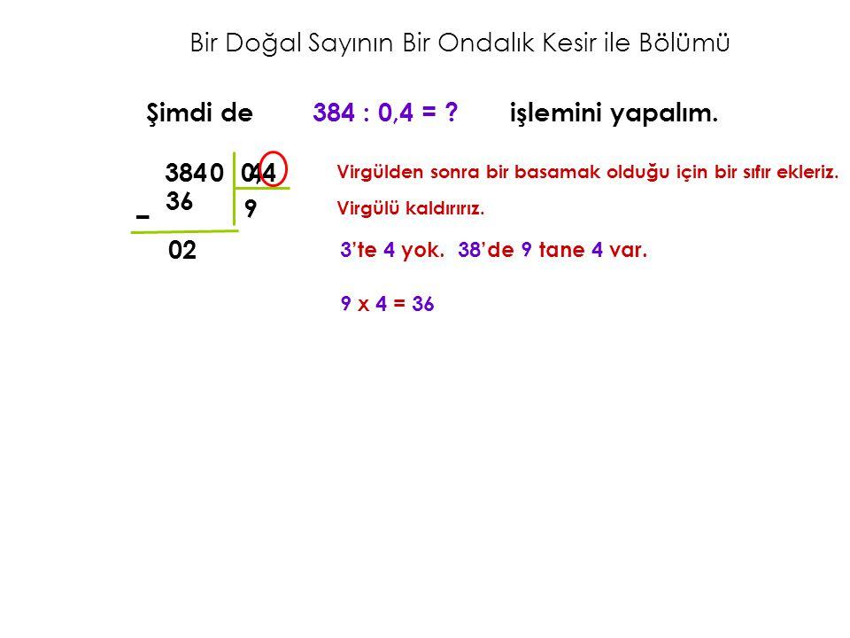 Bir Doğal Sayının Bir Ondalık Kesir ile Bölümü Şimdi de 384 : 0,4 = ? işlemini yapalım. Virgülden sonra bir basamak olduğu için bir sıfır ekleriz. 384