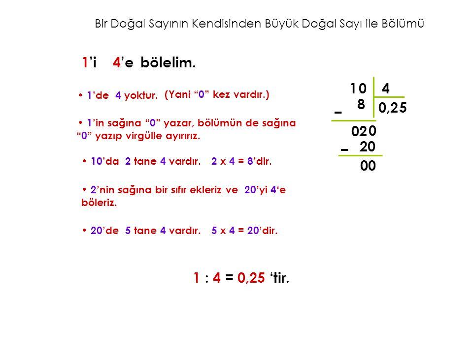 """Bir Doğal Sayının Kendisinden Büyük Doğal Sayı ile Bölümü 1 4 0 0, 8 – 02 1'i 4'ebölelim. 1'de 4 yoktur. (Yani """"0"""" kez vardır.) 1'in sağına """"0"""" yazar,"""