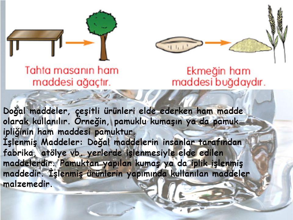 Doğal maddeler, çeşitli ürünleri elde ederken ham madde olarak kullanılır. Örneğin, pamuklu kumaşın ya da pamuk ipliğinin ham maddesi pamuktur. İşlenm