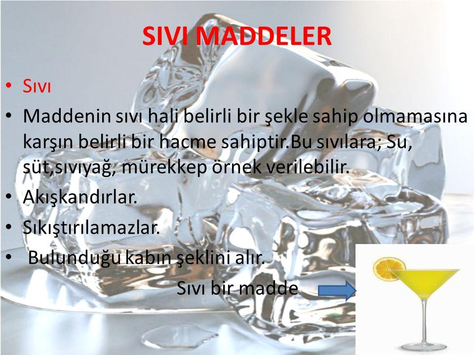 SIVI MADDELER Sıvı Maddenin sıvı hali belirli bir şekle sahip olmamasına karşın belirli bir hacme sahiptir.Bu sıvılara; Su, süt,sıvıyağ, mürekkep örne