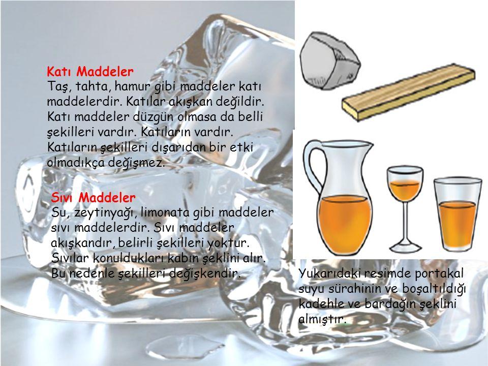 Katı Maddeler Taş, tahta, hamur gibi maddeler katı maddelerdir. Katılar akışkan değildir. Katı maddeler düzgün olmasa da belli şekilleri vardır. Katıl
