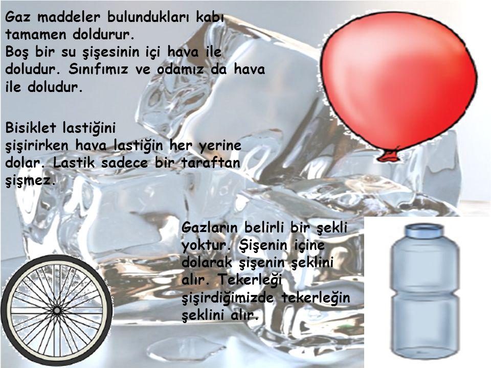 Gaz maddeler bulundukları kabı tamamen doldurur. Boş bir su şişesinin içi hava ile doludur. Sınıfımız ve odamız da hava ile doludur. Bisiklet lastiğin