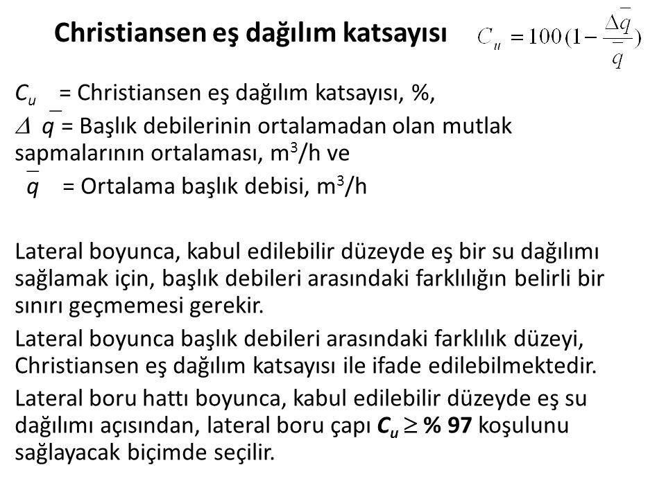 Christiansen eş dağılım katsayısı C u = Christiansen eş dağılım katsayısı, %,  q = Başlık debilerinin ortalamadan olan mutlak sapmalarının ortalamas