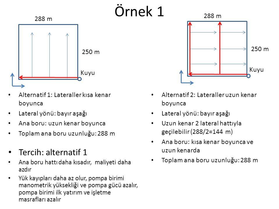 Örnek 2 Alternatif 1: Lateraller kısa kenar boyunca Lateral yönü: bayır aşağı Toplam ana boru uzunluğu: 720 m Alternatif 2: Lateraller uzun kenar boyunca Uzun kenar 2 lateral hattıyla geçilebilir (288/2=144 m) Lateral eğimi: yatay (2 yönde bağlanabilir) Toplam ana boru uzunluğu: 480 m Tercih: alternatif 2 Su kaynağı 480 m 240 m Su kaynağı 480 m 240 m