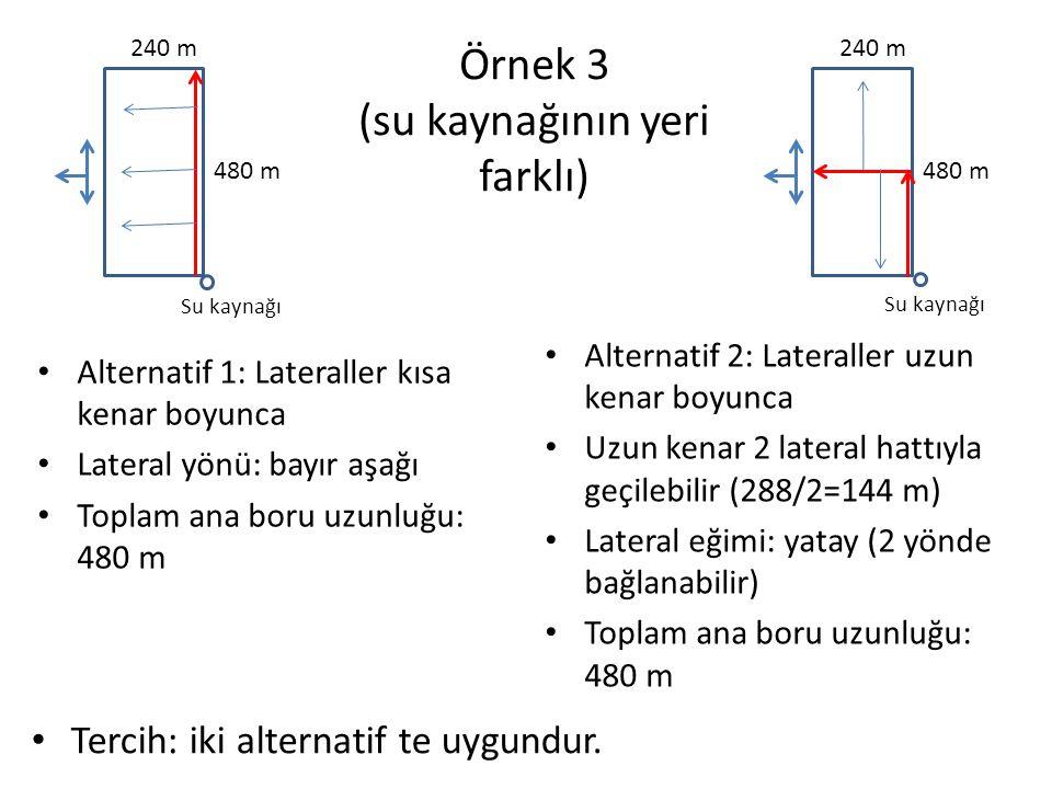Örnek 4 Alternatif 1: Lateraller kısa kenar boyunca Lateral yönü: bayır aşağı Toplam ana boru uzunluğu: 360 m Alternatif 2: Lateraller uzun kenar boyunca Lateral yönü: bayır aşağı Toplam ana boru uzunluğu: 360 m Tercih: iki alternatif te uygundur.